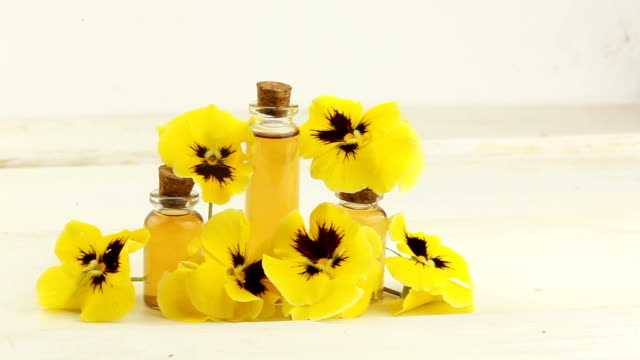 pansies essential oil in  beautiful bottle on  white background - alternative medicine stock videos and b-roll footage