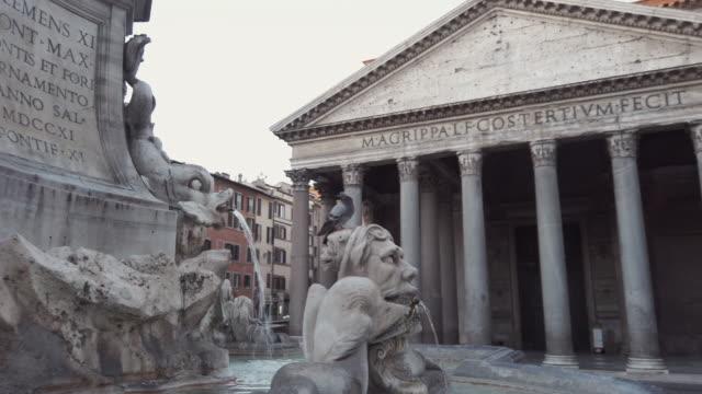 vidéos et rushes de panthéon and fountain, rome, italie - rome