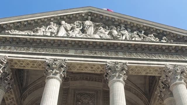 pantheon at day, paris, france. it is a secular mausoleum containing the remains of distinguished french citizens.located in the 5th arrondissement of paris on the mountain saint genevieve - neoclassical architecture stock videos & royalty-free footage