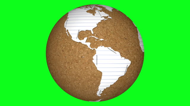 Paper and Cork Board Rotating Earth on Green Screen video