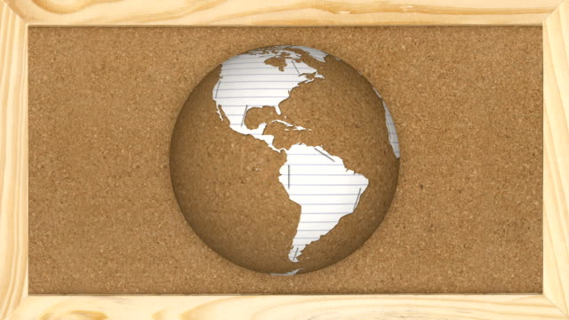 Paper and Cork Board Rotating Earth video