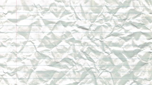 Paper background stop motion animation crumpled lined school pad notes loop 4k video