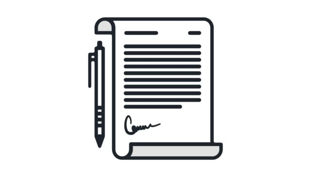 Paper Contract Flat Line Icon Animation with Alpha