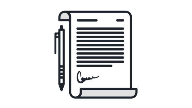 vidéos et rushes de papier contrat ligne plate icône animation avec alpha - dossier document