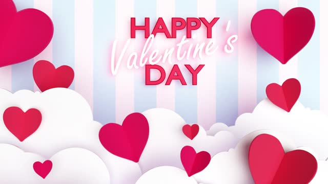 3D Paper Craft Hearts with Happy Valentine's Day Text Against Blue and White Striped Wallpaper in 4K Resolution