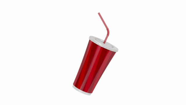 Paper cup with bendable straw video