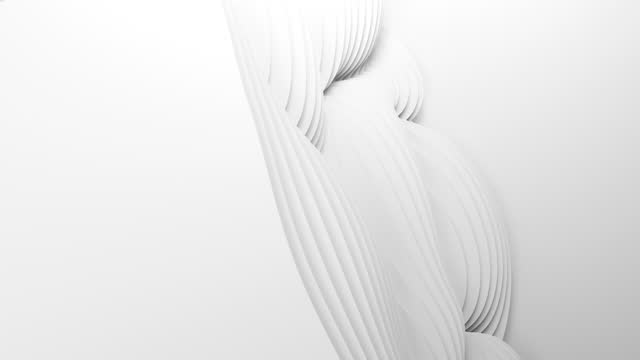 Paper cut abstract animation background loop. 3D clean white carving art. Paper craft waves. Minimalistic modern seamless design for business presentations