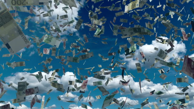 Paper euro money fall from the blue sky video
