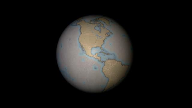 paper globe (northern hemisphere) loopable - ekvatorn latitud bildbanksvideor och videomaterial från bakom kulisserna