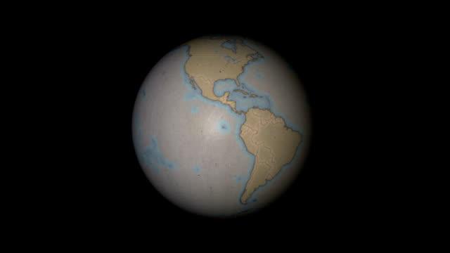 бумажный шар (экваториальная просмотреть) петли - линия экватора стоковые видео и кадры b-roll