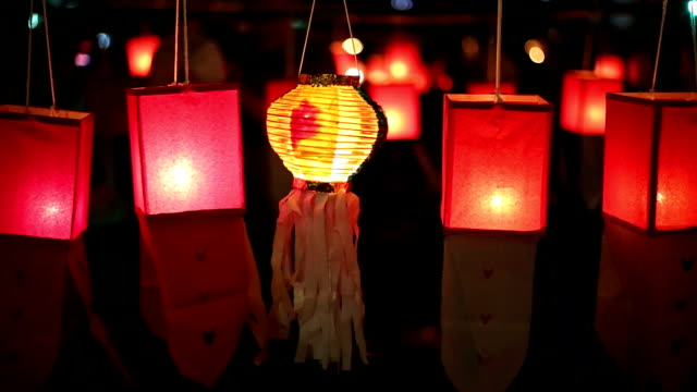 Paper lanterns in Yee-peng festival ,Chiang Mai Thailand video