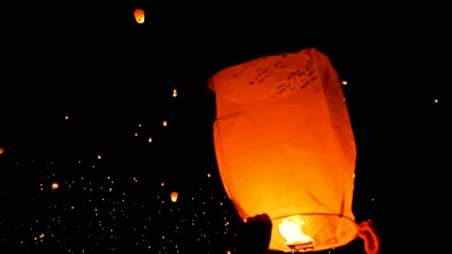 Paper Lanterns Light Festival 4k Beautiful night and floating paper lanterns lantern stock videos & royalty-free footage