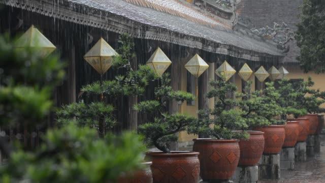 Paper lanterns of Hue city getting wet under heavy monsoon rain in Vietnam.