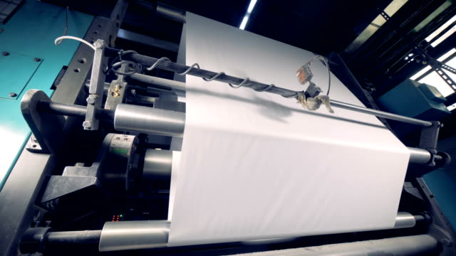 paper production machine. 4k. - мембрана клетки стоковые видео и кадры b-roll