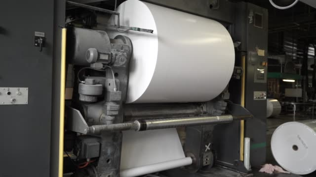 paper production machine. processing of secondary resources. paper recycling. - мембрана клетки стоковые видео и кадры b-roll
