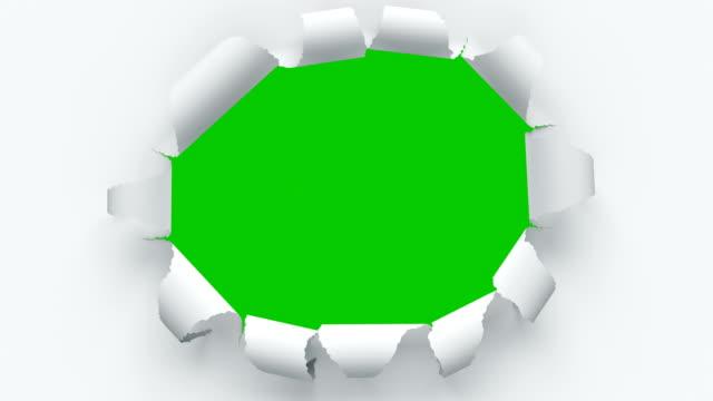Papierblätter reißen aus der Mitte öffnen den Bildschirmübergang. Vier Videos in einem. Schöne 3D Animation von abstrakten Papier durchbrechen auf grünem Bildschirm Alpha-Maske. – Video