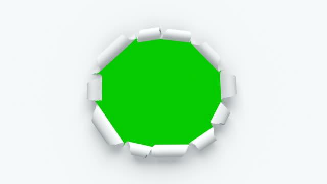 Papierblätter reißen aus der Mitte auf dem grünen Bildschirm. Drei Videos in einem. Schöne 3D-Animation von abstrakten Papier durchbrechen im Zentrum. Alpha-Maske. – Video