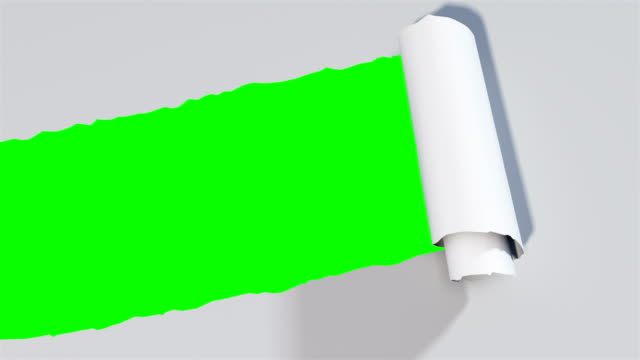 Paper tear A 3d animation of a paper tear with green background torn stock videos & royalty-free footage