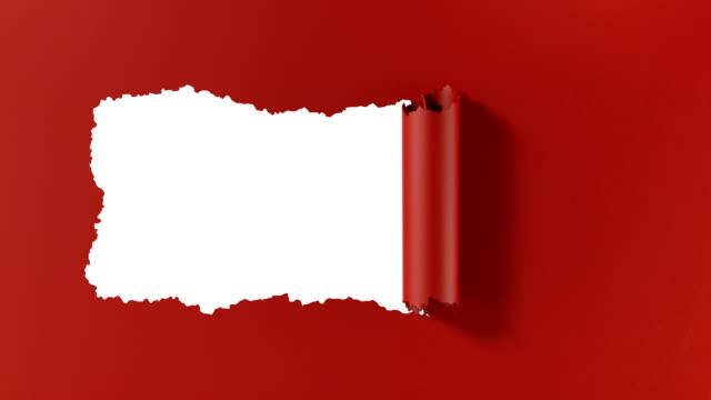 vídeos y material grabado en eventos de stock de papel desgarrado en una franja horizontal, que se enrolló abriendo el fondo. llave de croma verde incluida. - ripped paper
