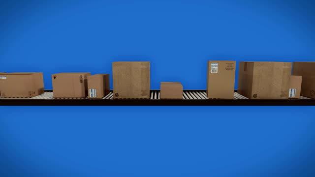 Paperboxes on conveyor belt, looping animation Paperboxes on conveyor belt, looping animation conveyor belt stock videos & royalty-free footage