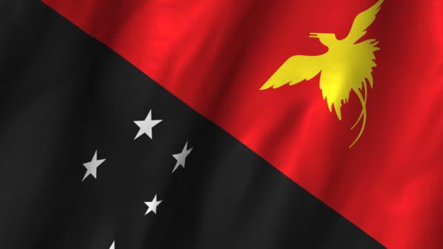 Papua New Guinea Flag - waving, looping video