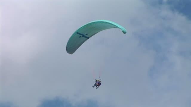 hd: paracadutisti nel cielo - volo con parapendio video stock e b–roll