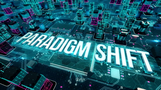 Paradigm shift with digital technology concept