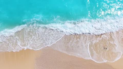 spiaggia paradisiaca aerea viev - onda video stock e b–roll