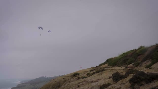 Paragliders on a Cloudy San Diego Morning