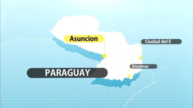 paraguay map - парагвай стоковые видео и кадры b-roll