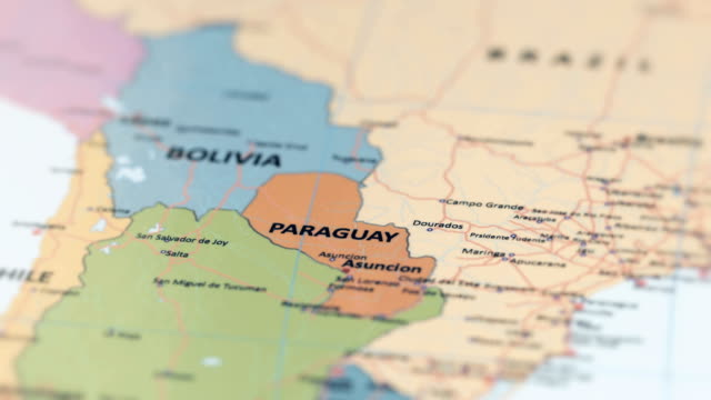 south america paraguay on world map - sud est video stock e b–roll