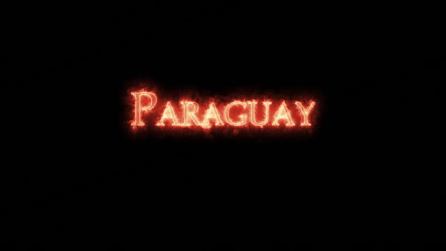 paraguay written with fire. loop - парагвай стоковые видео и кадры b-roll