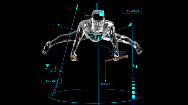 3D Parallel bars man with technical data