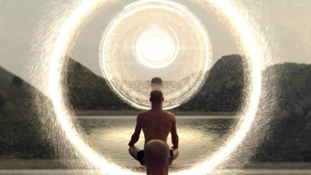 Parallel universe portal travel Meditating Man in parallel universe portal mirror travel. lighting technique stock videos & royalty-free footage