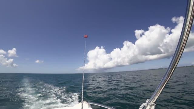 Parasailing on blue sky background at Miyakojima island video