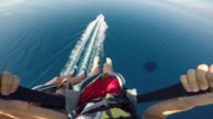 istock Parasailing over Adriatic sea young couple legs above crystal blue water point of view action camera 1219142970