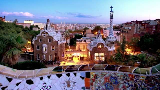 Parc Guell at Dusk, Barcelona, Spain video