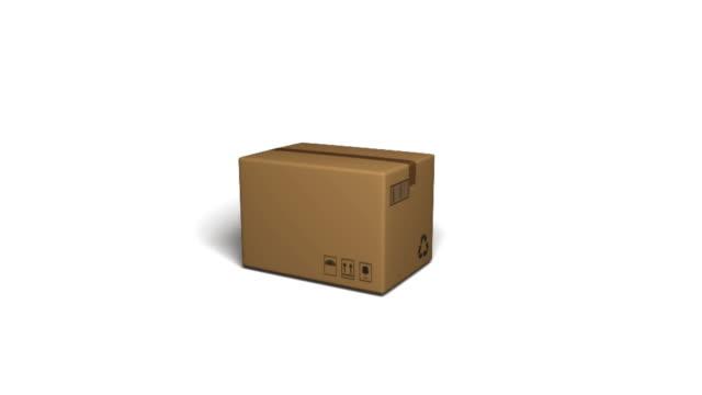 vídeos de stock e filmes b-roll de parcel falling - cardboard box