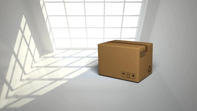 vídeos de stock e filmes b-roll de parcel with window - cardboard box