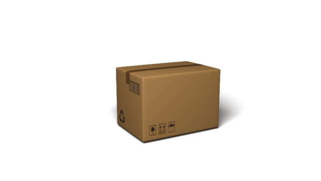vídeos de stock e filmes b-roll de parcels and truck diagram on white backgound - cardboard box