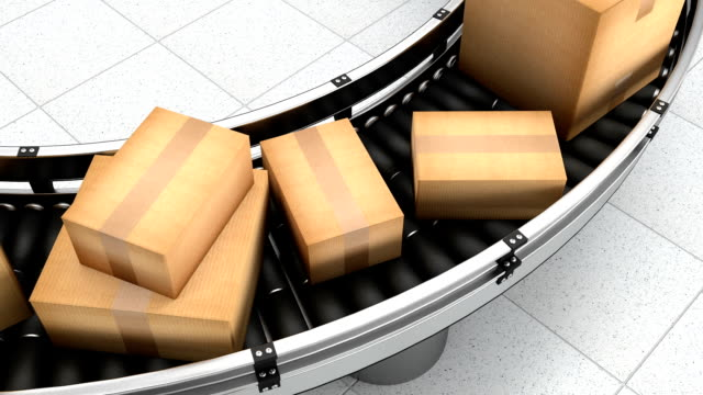 Parcels On A Conveyor Belt Shipping To Customers From A Warehouse video