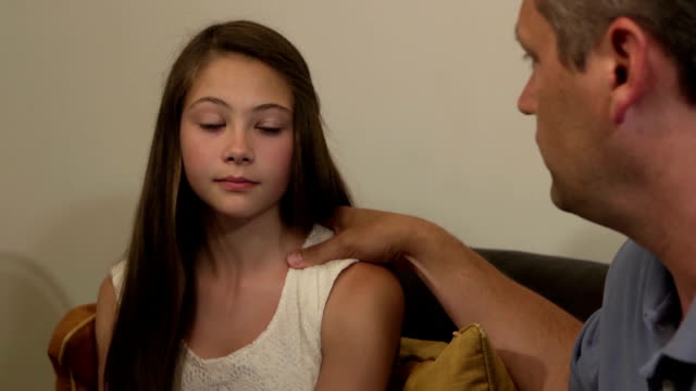 Parents have Serious Discussion with Daughter - Close Up video
