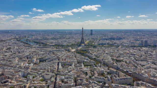 vidéos et rushes de paris ville centre ensoleillé journée d'été tour district timelapse aérien panorama 4k chine - paris