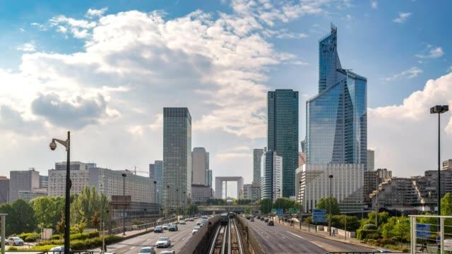 Paris city skyline timelapse at La Defrense business district and Paris Metro, Paris, France 4K Time lapse