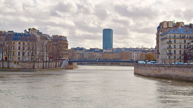 Paris Cityscape. Panorama. Residential District. Bridge and River. Cloudscape. Nature and Urban.