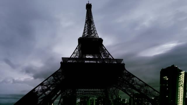 Paris dark cloudy sky to night