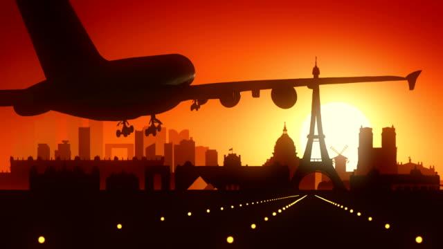 paris eiffel flygplan frankrike resor bakgrund - montmatre utsikt bildbanksvideor och videomaterial från bakom kulisserna