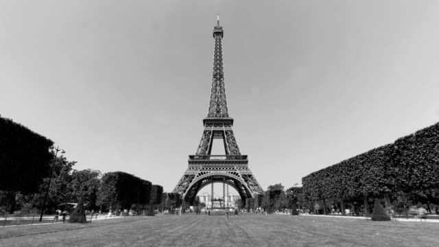 paris eiffel tower - black and white architecture stock videos & royalty-free footage