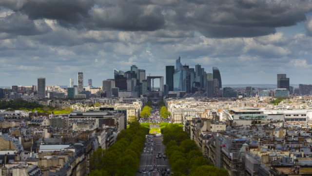 Paris, Financial district la Defense, Timelapse video