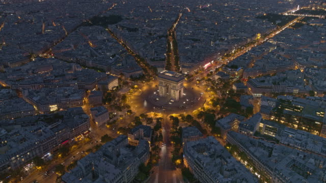 paris france aerial v58 flying over place charles de gaulle looking down at arc de triomphe to cityscape view 8/18 - parigi video stock e b–roll